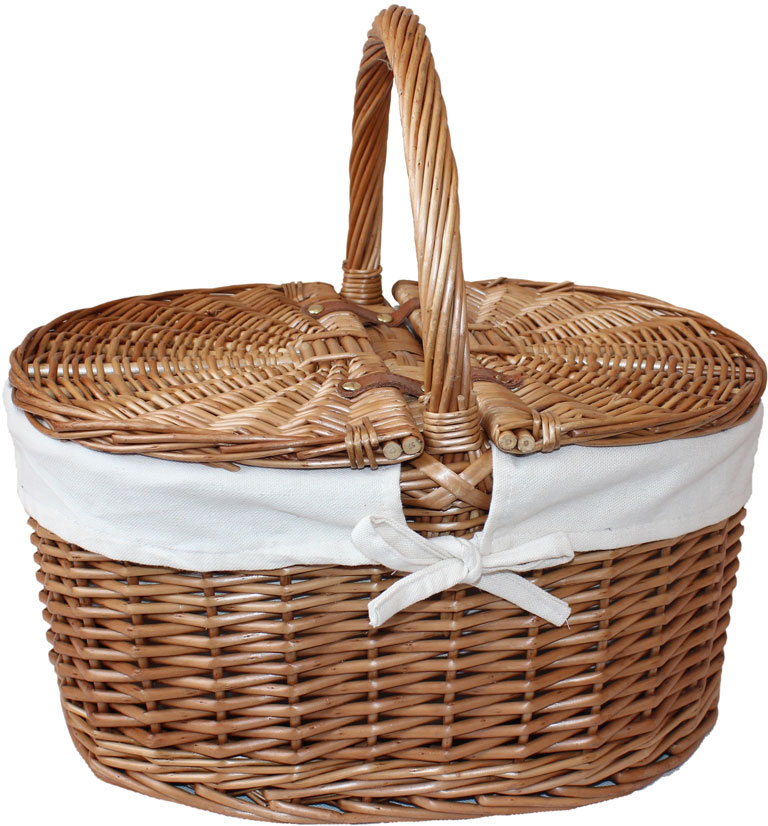 Oval Lidded Hamper With White Lining - Empty