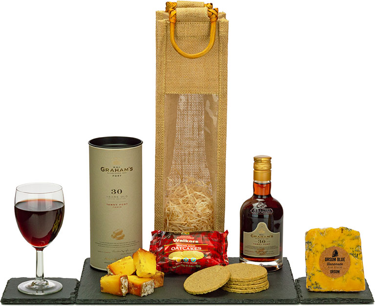 Vintage Graham's 30 Year Old Port & Stilton in Wood
