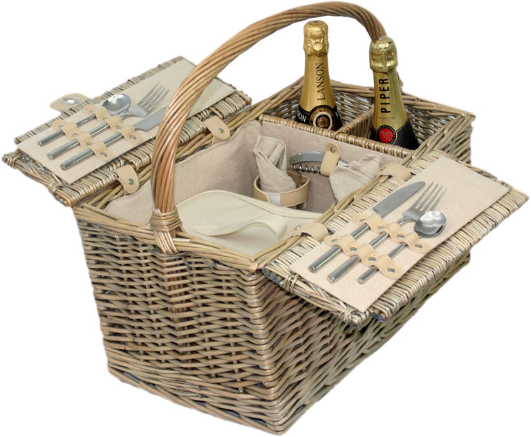 Lidded Hamper Basket for 2 - Empty