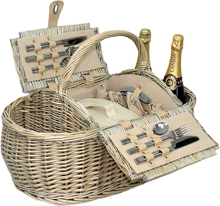 Boat Hamper Basket for 4 - Empty