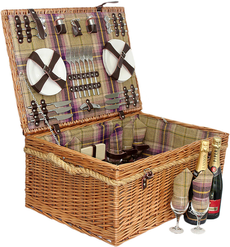 Deluxe Tartan Picnic Basket for 6 - Empty
