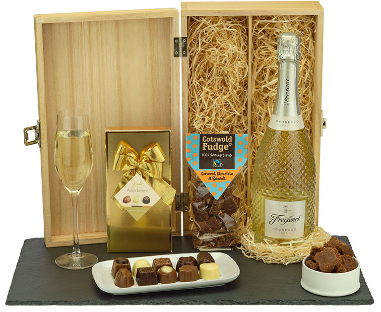 Prosecco and Chocolate Treat in Wood