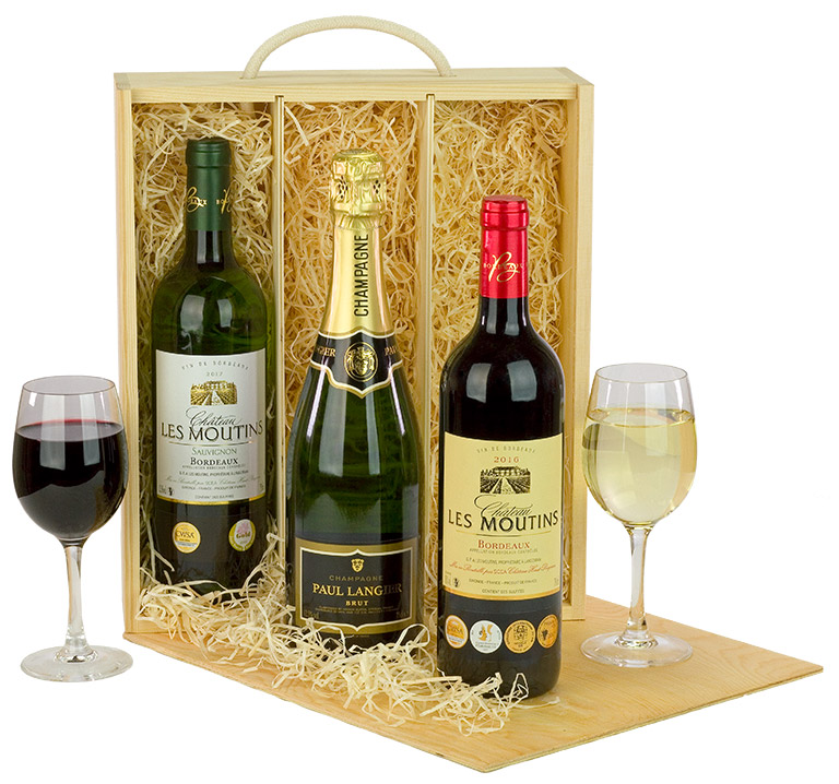 Champagne and Wine Trio in Wood