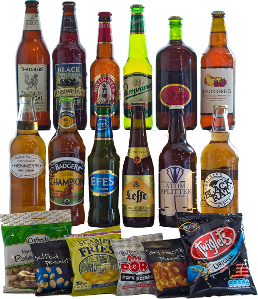 12 Mixed Lagers, Ales and Ciders with Bar Snacks